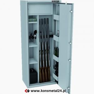 Sejf klasy S1 wyposażony w skrytkę, 3 półki oraz kieszenie na drzwiach do przechowywania broni.